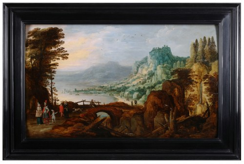 Paintings & Drawings  - Extensive landscape with gentry - Joos de Momper & Sebastiaen Vrancx