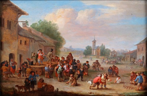 Festivities on the village square- Pieter Bout (Brussels 1640- 1689) - Paintings & Drawings Style