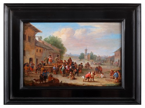 Paintings & Drawings  - Festivities on the village square- Pieter Bout (Brussels 1640- 1689)