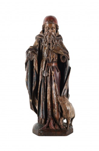 A group representing Saint Anthony with his pig standing in flames - Sculpture Style