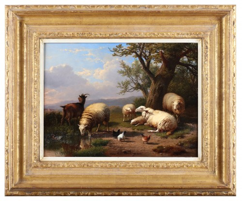 A gathering of farm animals - Eugène Verboeckhoven (1798-1881) - Paintings & Drawings Style