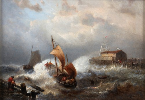 Paintings & Drawings  - Ships in stormy weather- François Musin (1820-1888)