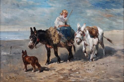 A donkey ride - Henri Schouten (ca. 1857 - 1927) - Paintings & Drawings Style