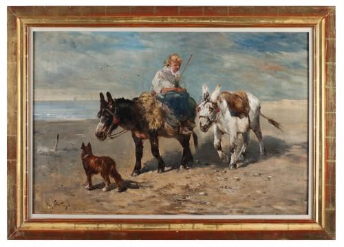 Paintings & Drawings  - A donkey ride - Henri Schouten (ca. 1857 - 1927)