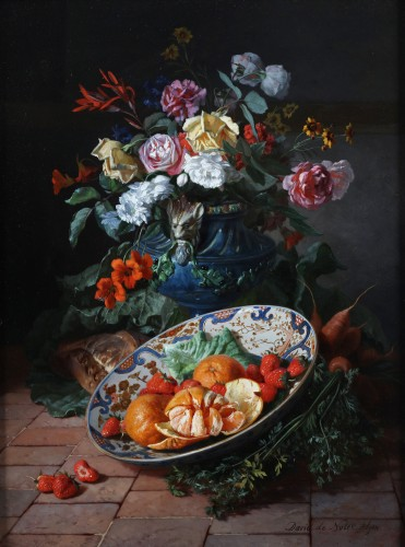 Two still lifes with flowers in a vase- David De Noter (1818-1892) - Paintings & Drawings Style