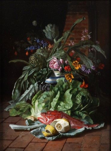 Two still lifes with flowers in a vase- David De Noter (1818-1892) -