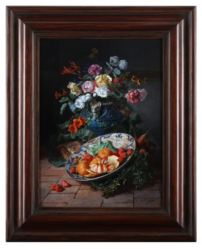 19th century - Two still lifes with flowers in a vase- David De Noter (1818-1892)