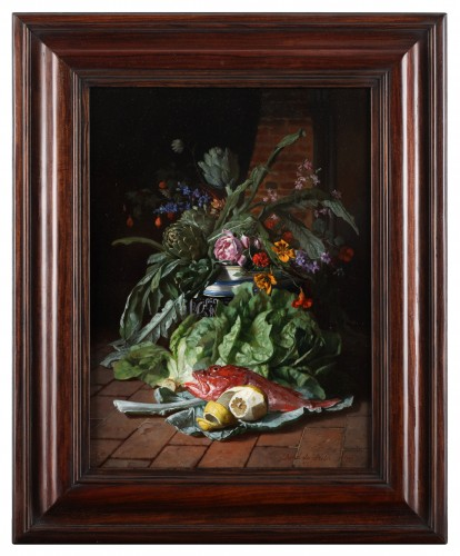 - Two still lifes with flowers in a vase- David De Noter (1818-1892)