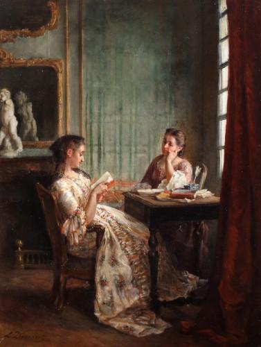 Reading a book - Léon Dansaert (1830-1909) - Paintings & Drawings Style