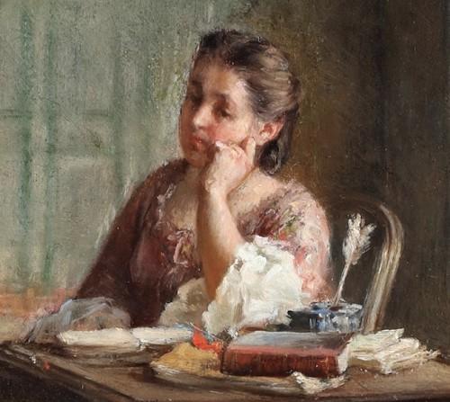 Paintings & Drawings  - Reading a book - Léon Dansaert (1830-1909)