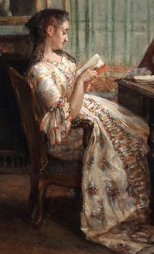 Reading a book - Léon Dansaert (1830-1909) -