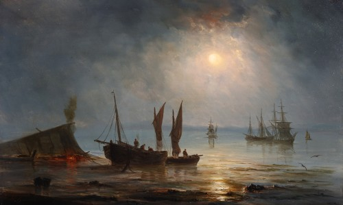 Ships near the coast during the evening - Henriette Gudin (1825-1892) - Paintings & Drawings Style