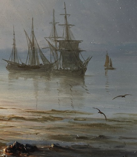 Ships near the coast during the evening - Henriette Gudin (1825-1892) -