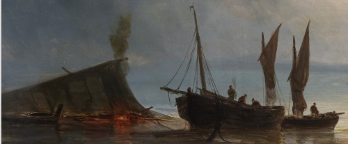 19th century - Ships near the coast during the evening - Henriette Gudin (1825-1892)