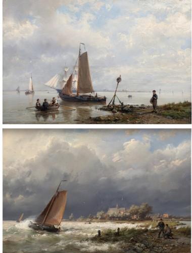 Ships near the shore & Ships in open water - Hermanus Koekkoek (1815-1882)