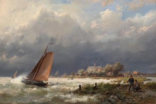 Paintings & Drawings  - Ships near the shore & Ships in open water - Hermanus Koekkoek (1815-1882)