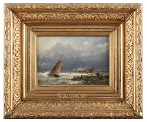 19th century - Ships near the shore & Ships in open water - Hermanus Koekkoek (1815-1882)