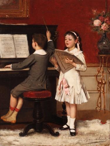 The music lesson - Albert Roosenboom (1843-1875) - Paintings & Drawings Style