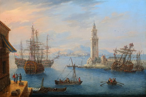An animated mediterranean harbour view- Carlo Grevenbroeck (1680-1757) - Paintings & Drawings Style
