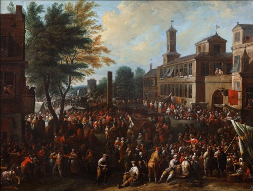 Daily life activities on a square in front of a castle- Pieter Bout