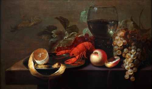 Still life with a lobster, a roomer, fruits and a lemon a tin plate