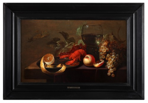 Still life with a lobster, a roomer, fruits and a lemon a tin plate -