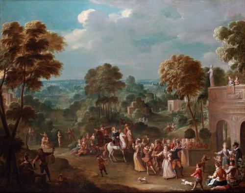 Leisure activities in the castle park - Jan Sebastiaen Loybos - Paintings & Drawings Style