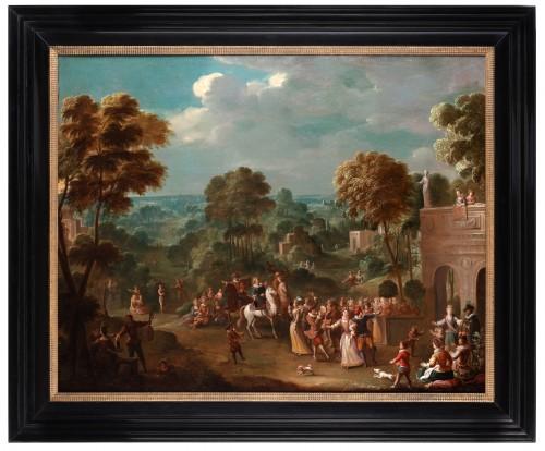 Paintings & Drawings  - Leisure activities in the castle park - Jan Sebastiaen Loybos