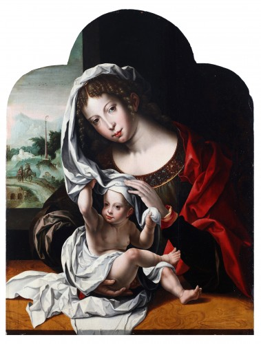 Virgin and child in an interior, the flight to Egypt in the background