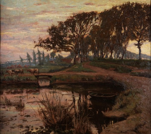 A flemish landscape with a boat in a pond and cows crossing a bridge - Paintings & Drawings Style