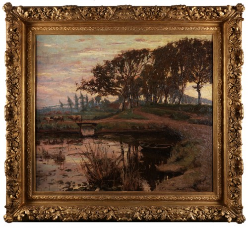 Paintings & Drawings  - A flemish landscape with a boat in a pond and cows crossing a bridge
