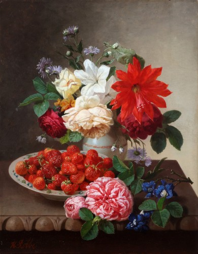 A still life with fruits and flowers- Henri Robbe
