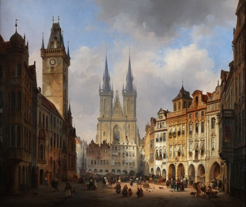 The old market of Prague with the church of Our Lady in the background