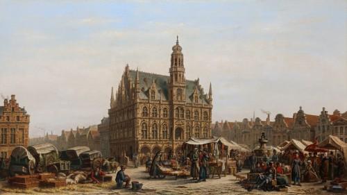 The city hall of Oudenaarde - Victor Vervloet (1829-1904)  - Paintings & Drawings Style