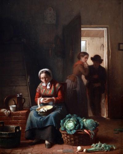 Kitchen chores - Théodore Bernard de Heuvel (1817-1906)