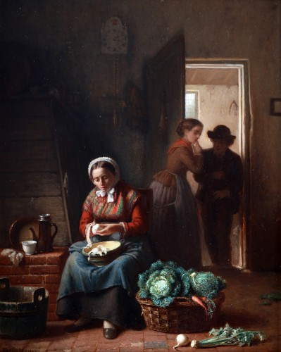 Kitchen chores - Théodore Bernard de Heuvel (1817-1906) - Paintings & Drawings Style