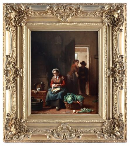 Paintings & Drawings  - Kitchen chores - Théodore Bernard de Heuvel (1817-1906)