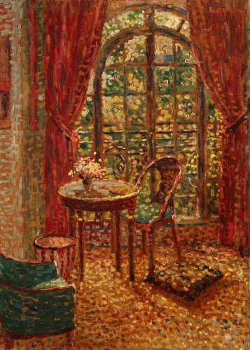 Interior scene with a view - Georges Creten (1887-1966) - Paintings & Drawings Style