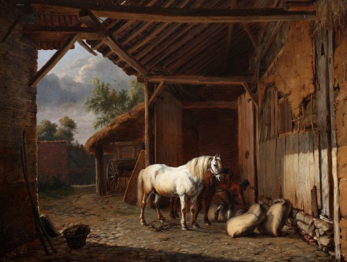 Horses on the inner court of a barn - Charles Tschaggeny (1815-1894)