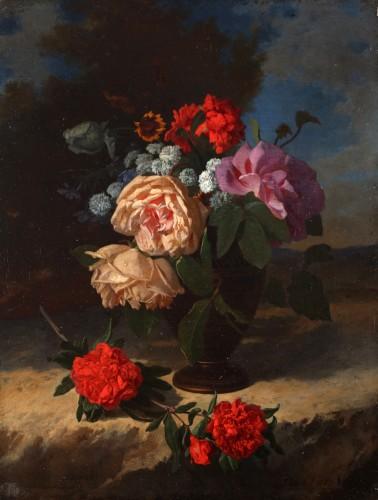 Flowers in a vase - David De Noter (1818-1892)