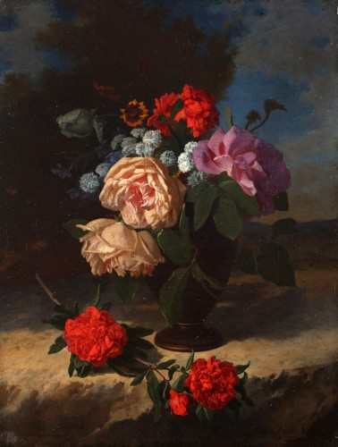 Flowers in a vase - David De Noter (1818-1892) - Paintings & Drawings Style