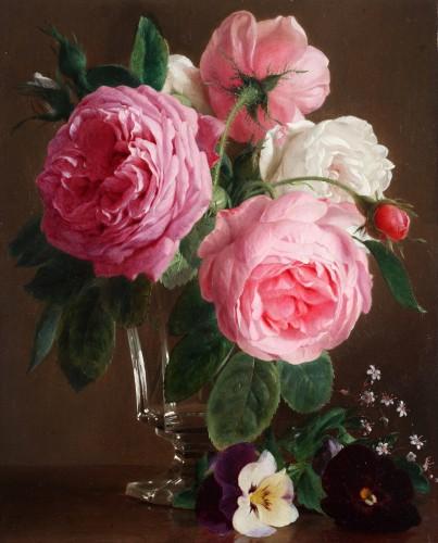 Roses in a crystal vase - François De Bruycker (1816-1882) - Paintings & Drawings Style