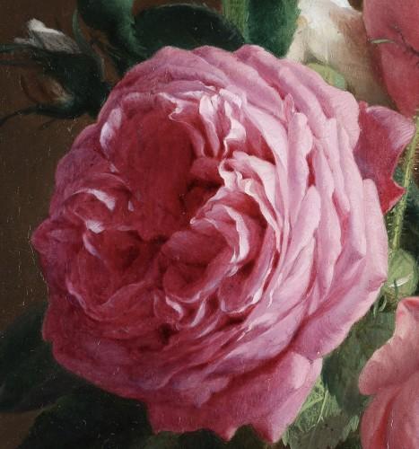 Roses in a crystal vase - François De Bruycker (1816-1882) -