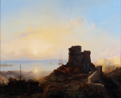 An animated view of Constantinople- Jacob Jacobs (1812-1879)