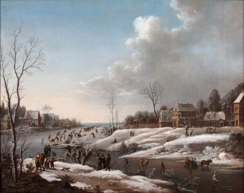 Merrymaking on the ice - Attributed to Daniel van Heil (1604-1662) - Paintings & Drawings Style