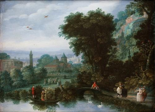 Court activities around a pond - Flemish School 17th century