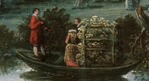 Court activities around a pond - Flemish School 17th century -