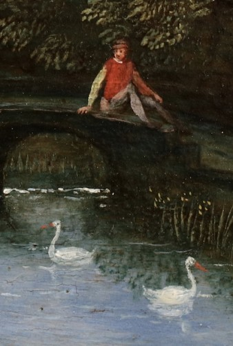 17th century - Court activities around a pond - Flemish School 17th century