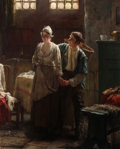 Courting - Edward Portielje (1861- 1949) - Paintings & Drawings Style