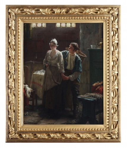 Paintings & Drawings  - Courting - Edward Portielje (1861- 1949)